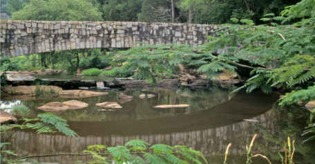 Indian Springs State Park brick bridge with small lake beneath
