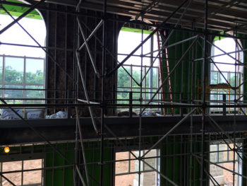 Scaffolding inside roof of renovated building